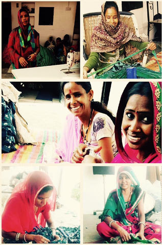 The progress of a community can be seen in the freedom its women have achieved.  Mrs L (top left) is a single mother and is the second lady in the village to get sewing machine in her home so that she can care for her 3 children while being able to earn.  Manju(top right) is all rugged up on a cold afternoon... making sari yarn.  Indra (bottom left), a master chef for the longest time, is a master seamstress now. Rekha (bottom right) cares for her 3 children while working hard from home on her own machine. She has been doing that for over 6 years now when most women in this village are not allowed to leave their houses.  This is why we at CAYA, love what we do.