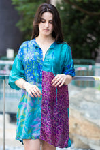 Loose Silk Top: Blue & Pink
