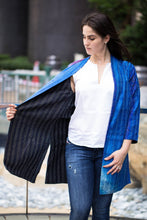 Silk Jacket in Blue and Black Color
