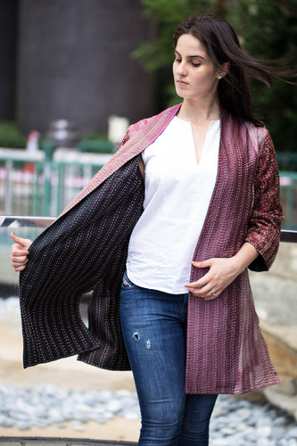 Silk Overcoat: Pink & Black (M)