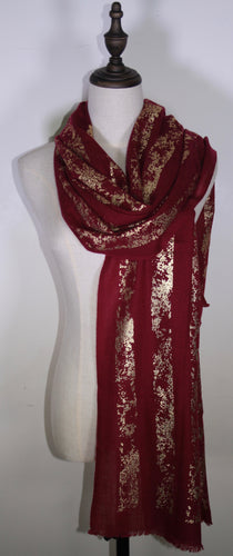 Foil Patterned Scarf: Maroon