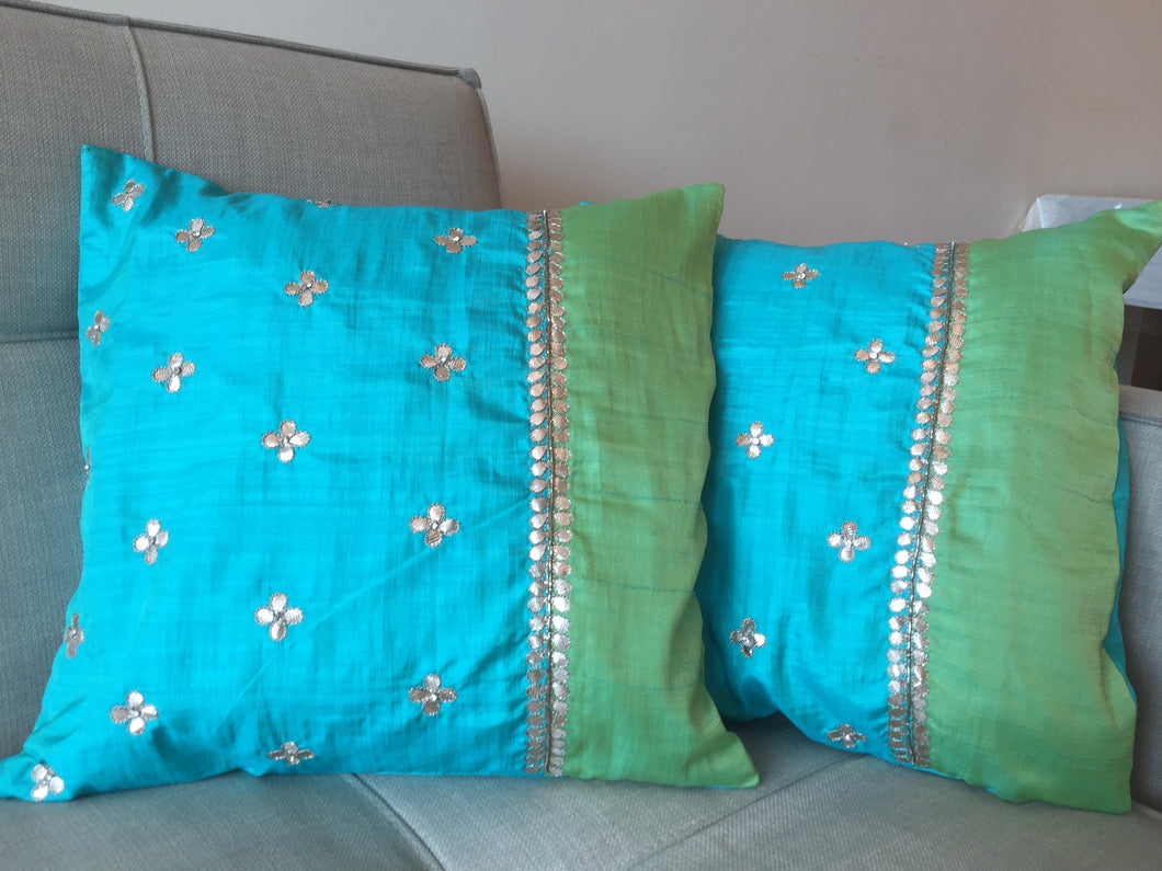 Silk Cushion Covers: Turquoise & Green
