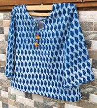 Indigo Flower Block Printed Handmade Top