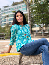 Turquoise Block Printed Top for Summer