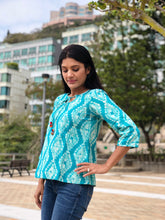 Cool Off Turquoise Block Printed Top