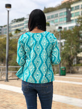 Block Printed Top in Turquoise Color