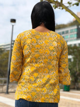 Handmade Block Printed Yellow Top