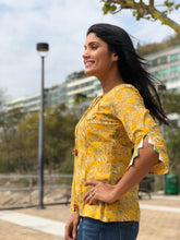 Cool-Off Block Printed Yellow Top