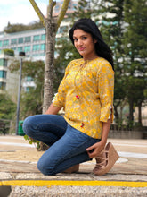 Block Printed Top in Yellow Color