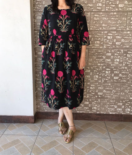 Cool Cotton Blockprinted Black Dress