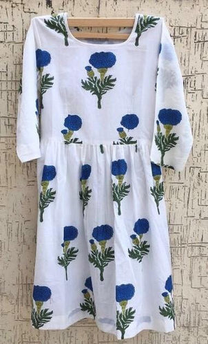 Block Printed Blue and White Cotton Dress for Summer