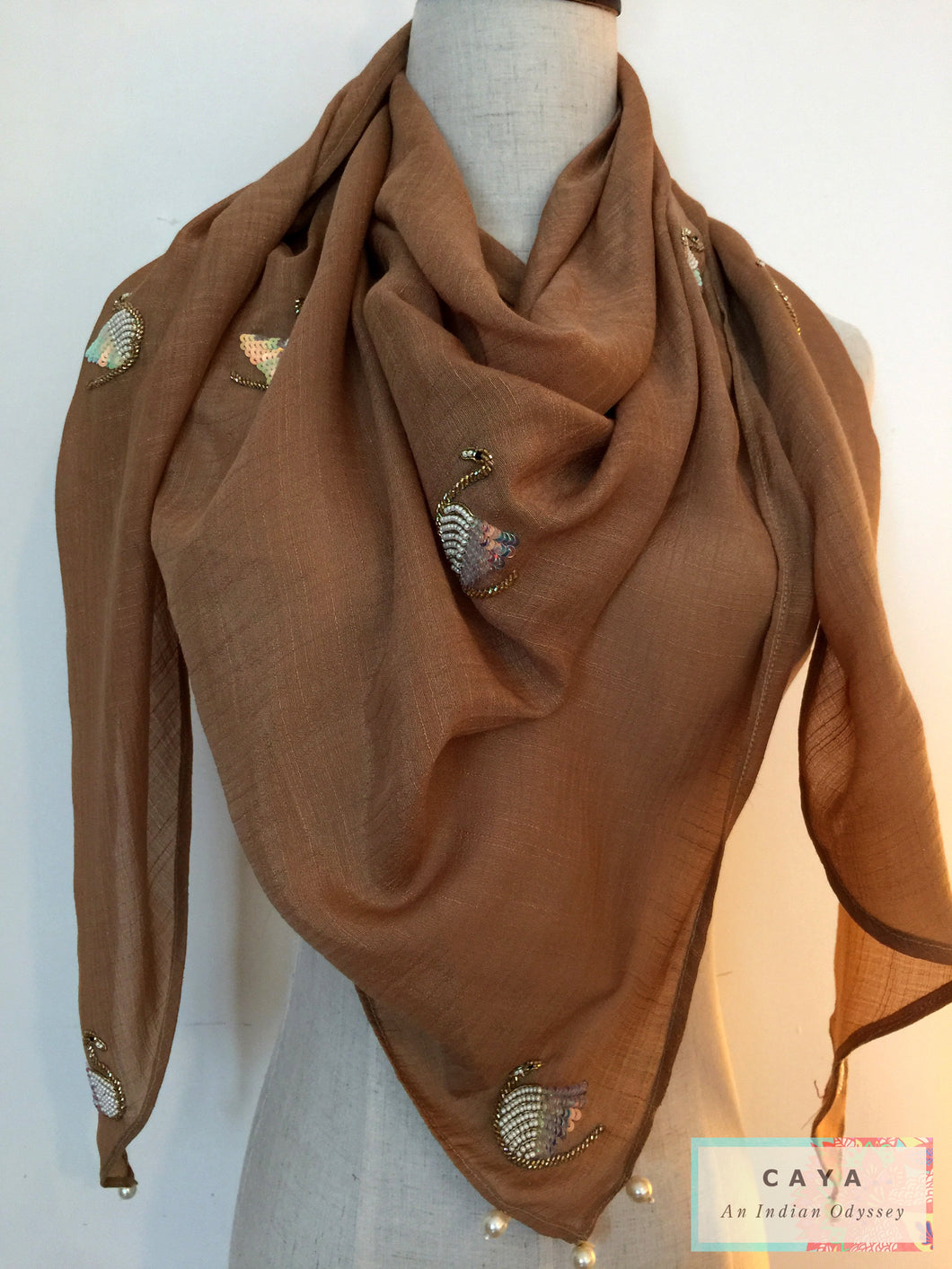 Handmade Triangular Cotton Beige Scarf for Summer