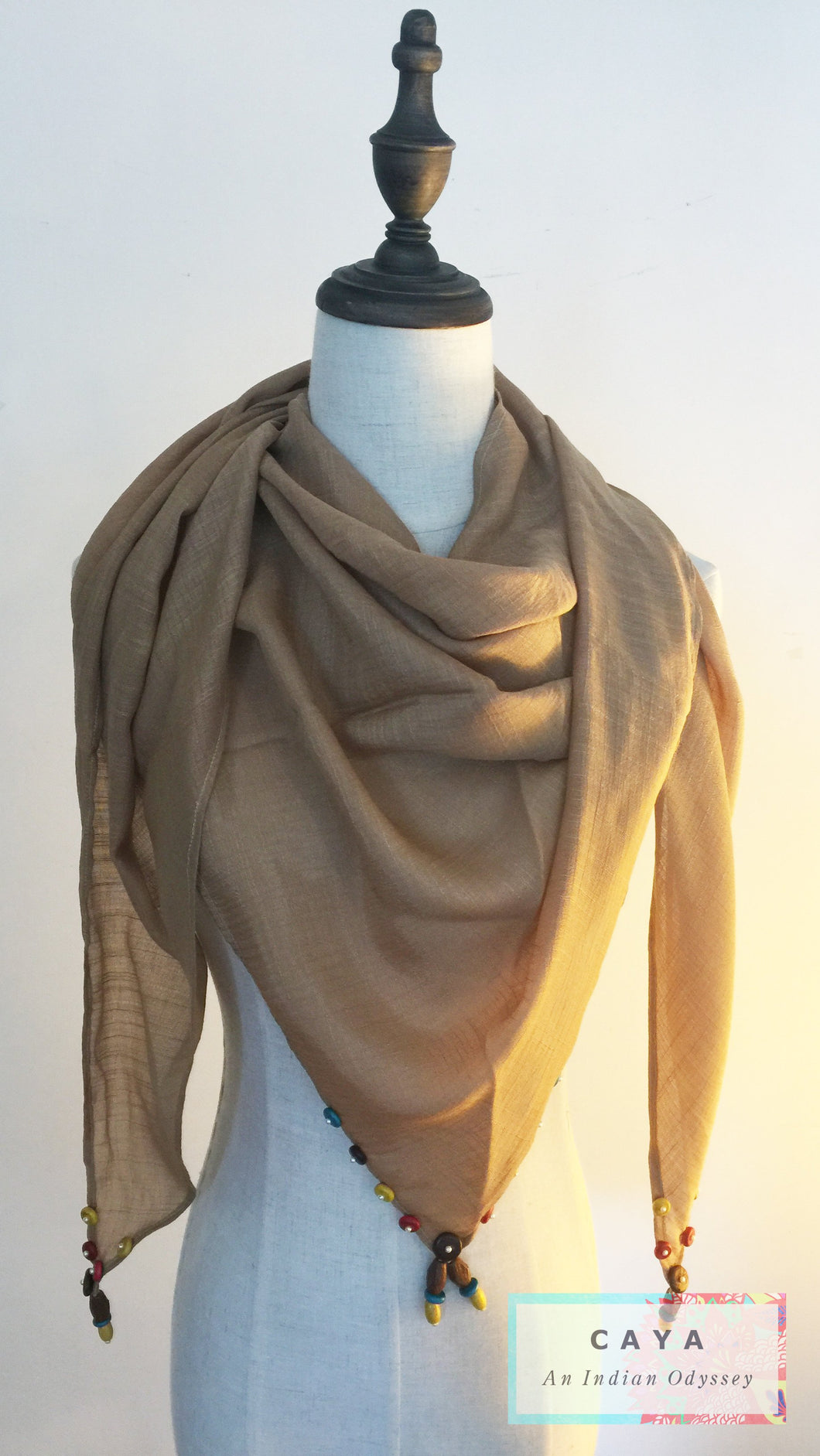 Beige Triangular Scarf with Wooden Button