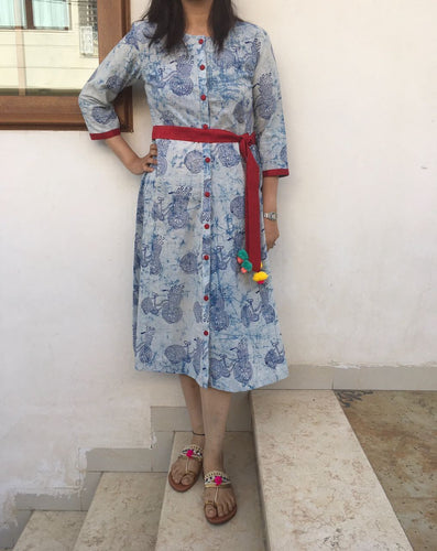 A-Line Bicycle Blue Dress for Summer