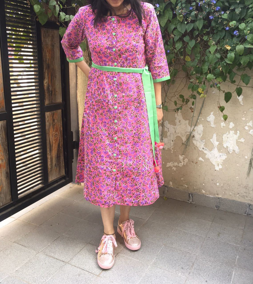 A-Line Pink Floral Printed Dress for Summer