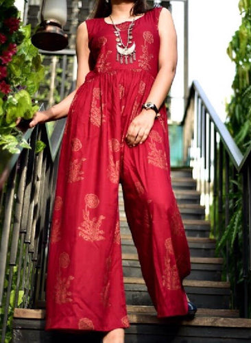 Maroon Jumpsuit with Gold Tasseled Belt