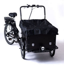 power assisted cargo bike with rain cover
