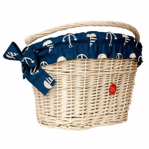 Sailor print bicycle basket liner