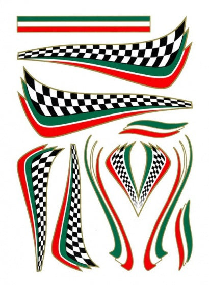 bicycle stickers Italian Checker green / white / red