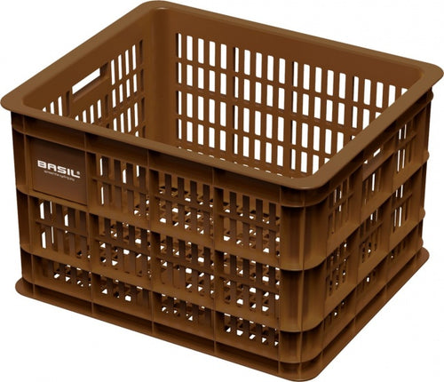 bike crate plastic 33 litres brown