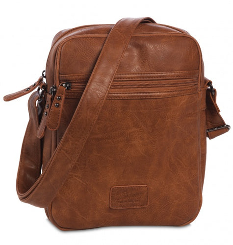 crossbody bag faux leather brown 4 liters