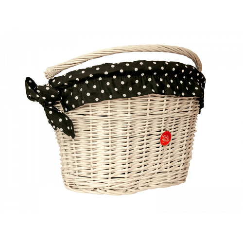 BLACK POLKA: White Wicker Basked with Liner
