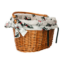 wicker bike basket with easy to fix on the handlebars hooks