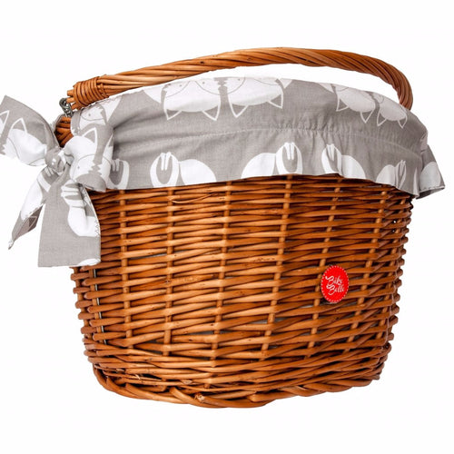 Bike wicker basket with liner fox print in grey and white