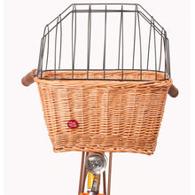 Pet wicker basket with metal cage cover