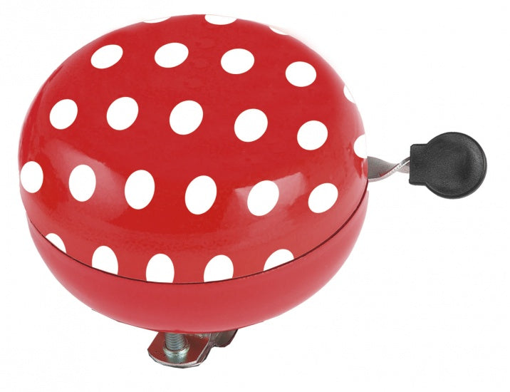 Bicycle bell Ding-Dong 80mm Red With White Dots