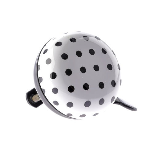 bicycle bell Dots ding-dong steel 60 mm white/black