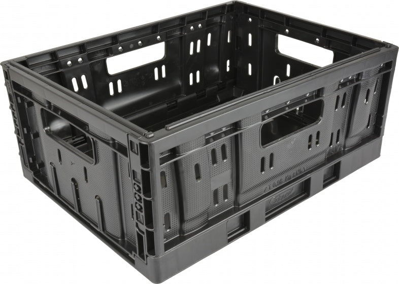 plastic folding crate small 20 litres foldable black