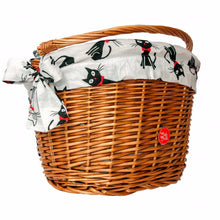 Black cats on white background liner for wicker bike basket
