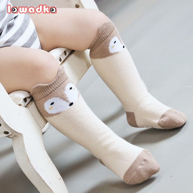 Fox Design 3 Colors  Cotton Knee Baby Socks Winter Fall  Cute Boys Girls Socks