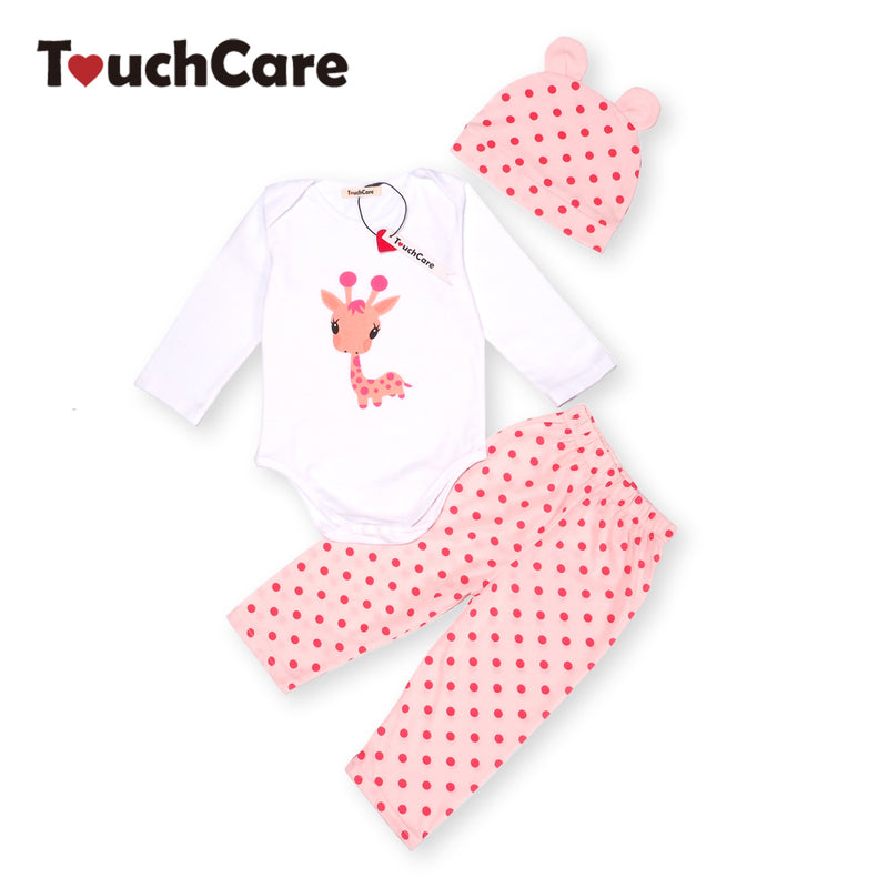3PCS Rompers+Hat+Pants Baby Boys Girls Clothing Set Cute Cartoon Animal Toddler Jumpsuit Infant Cotton Long Sleeve Kids Clothes
