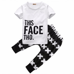 2016 New 2pcs Children Set 0-5Y Baby Boys Girls Summer Short Sleeve T-Shirt and Harem Pant Trouser Outfit Children Clothing Set