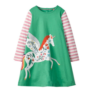 Baby Girls Unicorn Dress Long Sleeve 2018 Brand Children Princess Dress Animal Pattern Christmas Costume for Kids Dresses Tunic