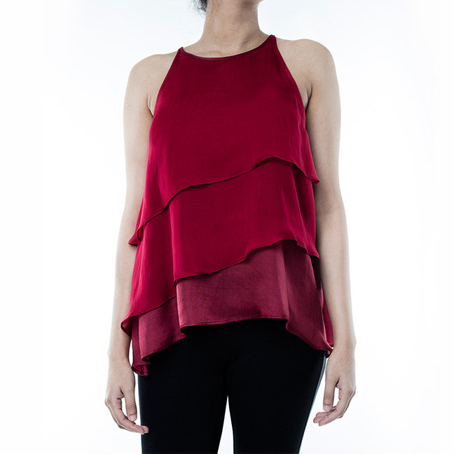 MAROON LAYERED TOP