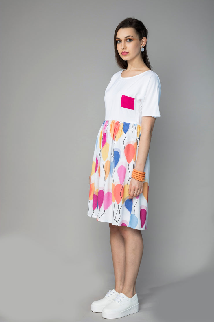 COLOUR BLOCK BALLOON DRESS