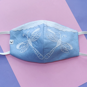 Hand Embroidered Dragonfly Mask - Blue