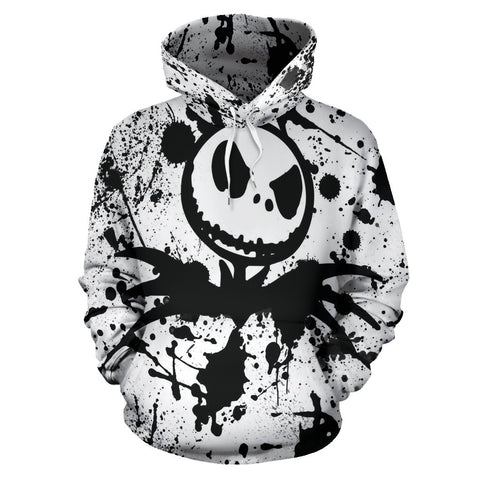 Jack Skellington Paint Splatter Men's Pullover Hoodie in White