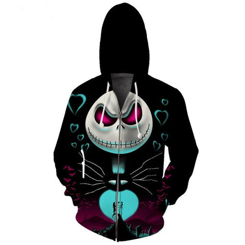 Jack Skellington Red Eyes Graphic Printed Men's Pullover Hoodie in Black