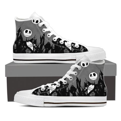 Jack Skellington at the Cementery Women's High Top Canvas Sneakers in Dark Gray