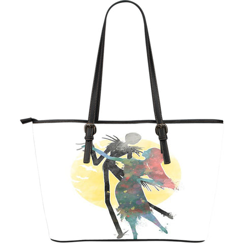 Jack Skellington & Sally Watercolor Artwork Women's Leather Tote Bag in White