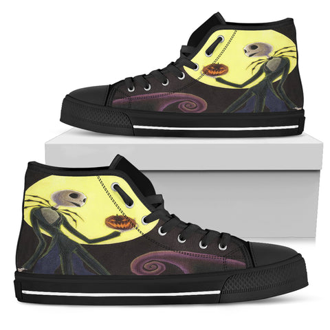 Nightmare Before Christmas Shoes - Jack Skellington Yellow Moon Women's High Top Canvas Sneakers in Black