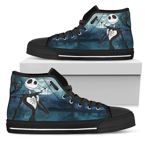 Jack Skellington Blue Moon Women's High Top Canvas Sneakers in Blue
