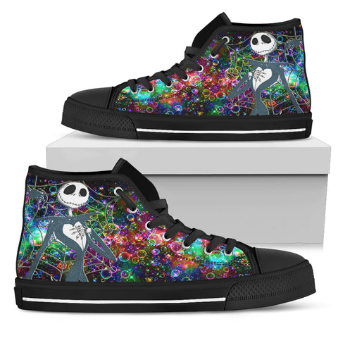 Nightmare Before Christmas Shoes - Jack Skellington Galactic Star Town Women's High Top Canvas Sneakers in Black