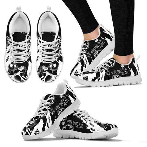 Nightmare Before Christmas Running Shoes - Jack Skellington & Sally Meant to Be Women's Lace Up Sneakers in Black