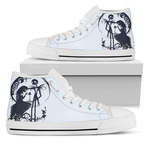 Jack Skellington & Sally Silohoutte Women's High Top Canvas Sneakers in Black