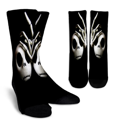 Jack Skellington Spooky Casual Crew Socks in Black